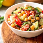 Mixed Chick Pea Salad With Garlic Avocado Dressing