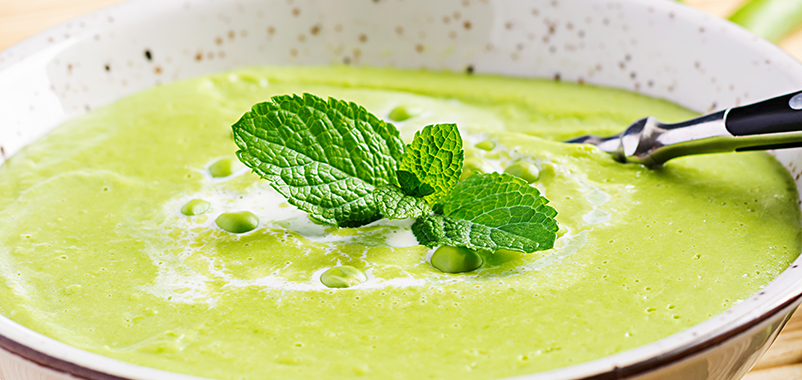 Broccoli, Pea, Ginger & Mint Soup